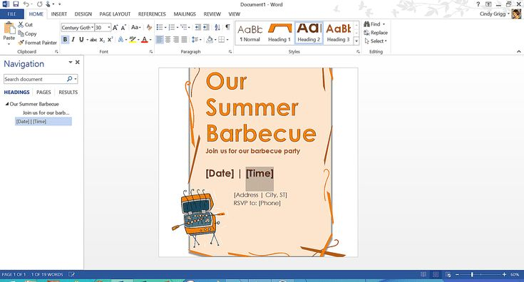 Microsoft's Best Free Summer Templates: Summer Barbeque Dinner Party Menu Template for Microsoft Word