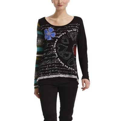 T-shirt manches longues imprimé Jamila femme DESIGUAL  Noir- Vue 1