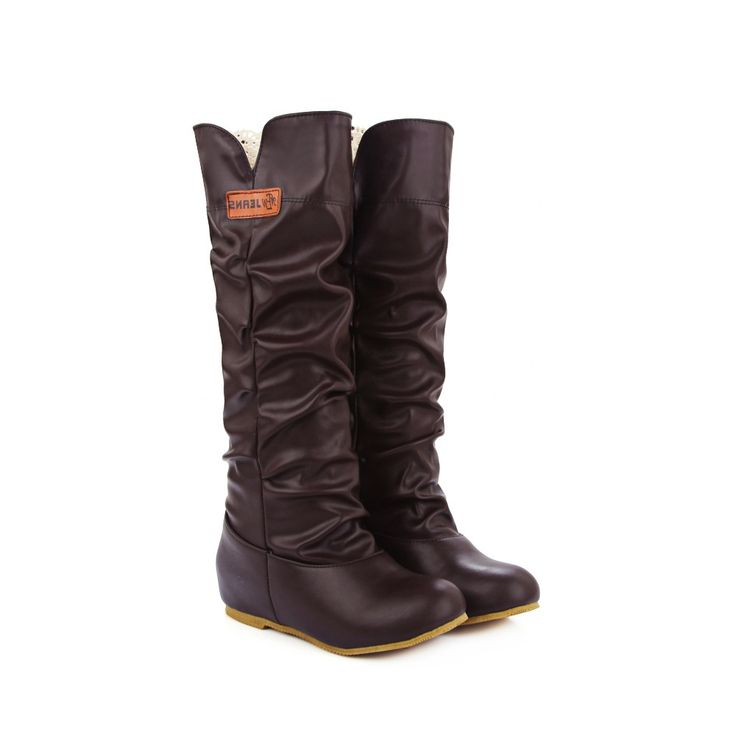 27.99$  Buy now - http://alit2s.worldwells.pw/go.php?t=32736649388 - Europe style autumn luxurious  knee high boots shellac round toe Hollow and lace  warm women boots ladies shoes size 46