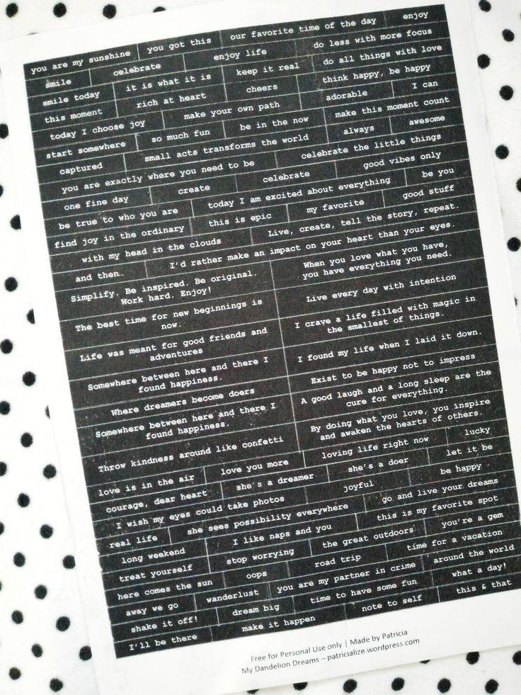 T T WORDS [Free Printable] DIY Words Stickers | My Dandelion Dreams