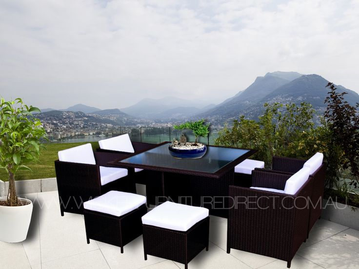 Brown Miller 8 Seater Wicker Outdoor Dining Set
