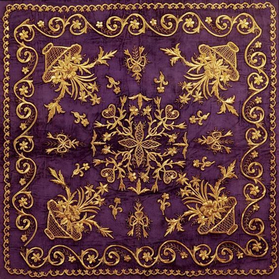 Embroidered bohça (wrapper). Late-Ottoman, 19th c.   'Goldwork' embroidery on velvet; technique: 'sarma' / 'Maraş işi'.: