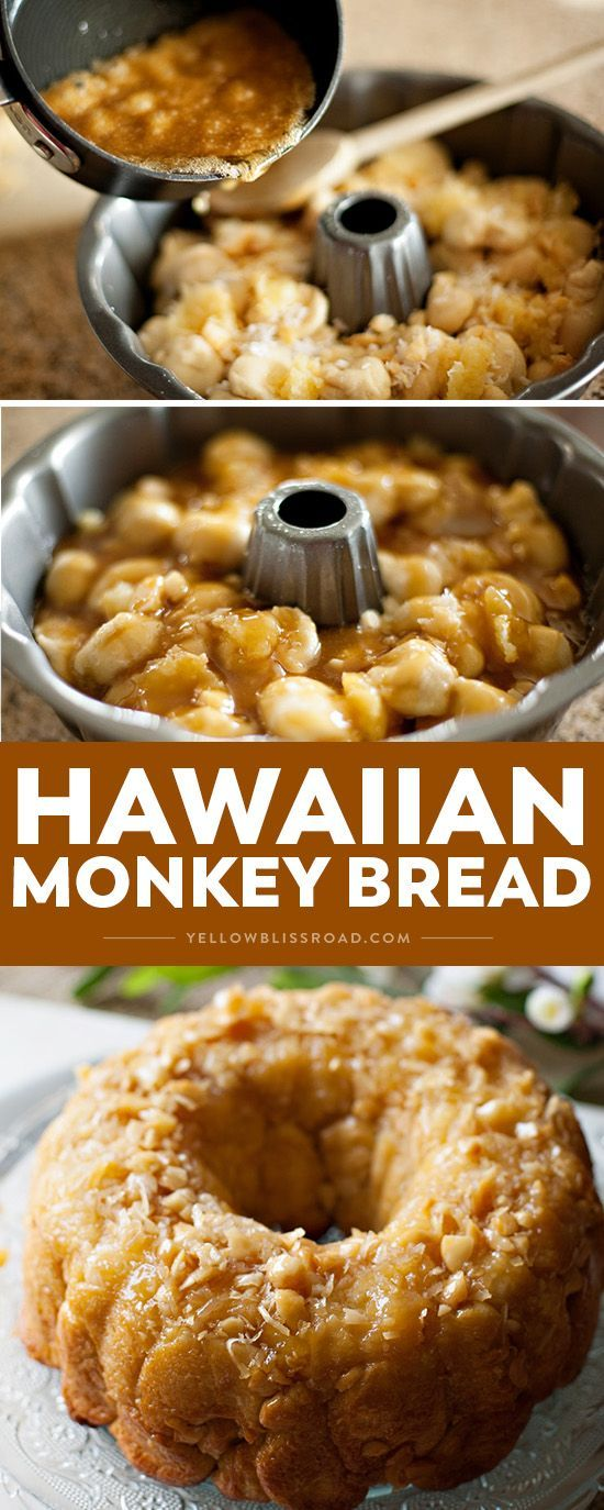 This Hawaiian Monkey bread is a tropical treat with macadamia nuts, coconut, and pineapple. It's an easy, delicious crowd-pleasing dessert that's also perfect for brunch!