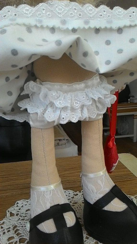 Fabric doll-textile doll-style-white hair-art by WonderfulTilda