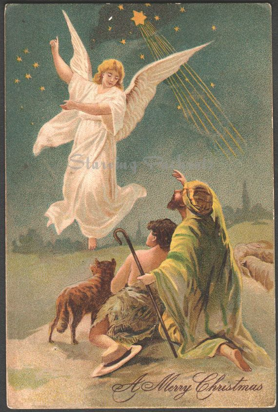 The Angel Appeared Unto The Shepherds Ca. 1910 Postcard