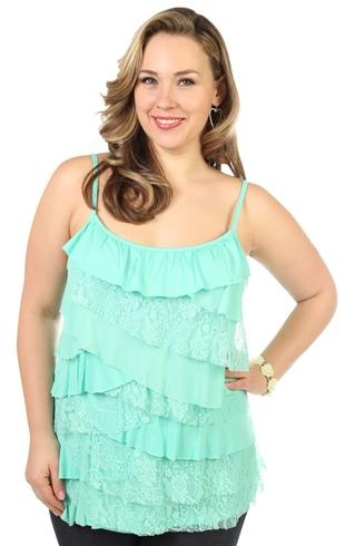 plus size lace and mesh tier tank top