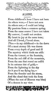 By Edgar Allan Poe more by Edgar Allan Poe Alone - Google Search