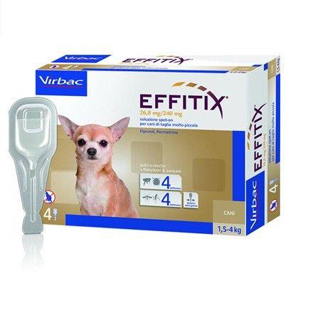 EFFITIX CANE TOY 1,5 - 4 KG   Antiparassitario per cani di peso compreso tra 1,5kg e 4kg. Da utilizzare contro le infestazion da pulci e zecche, quando è anche necessaria un'attività repellente (anti-puntura) contro i flebotomi e zanzare.  21,45 €  https://www.pets-house.it/pipette/3910-effitix-cane-toy-15-4-kg.html