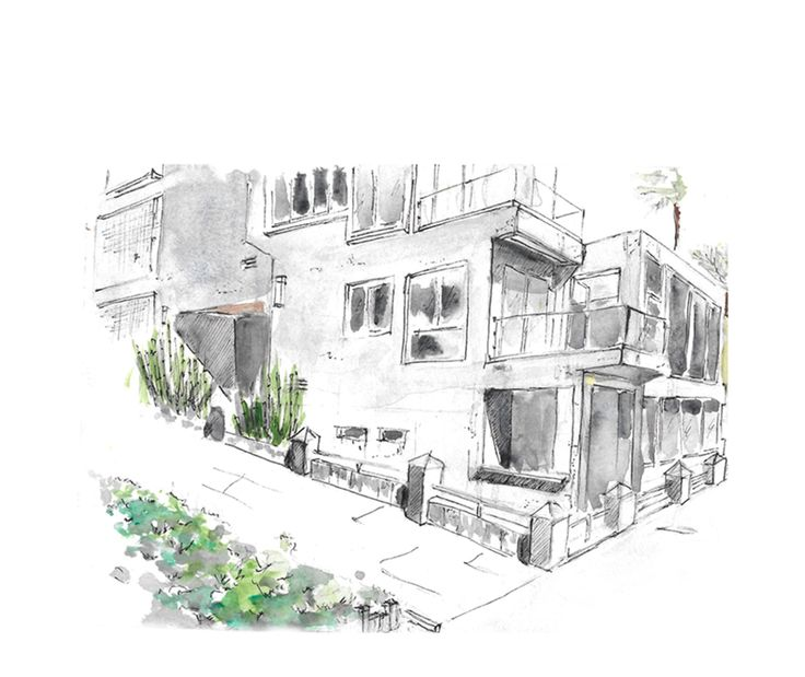 Manhattan Beach Strand Villa | Watercolor Painting | Mixed Media