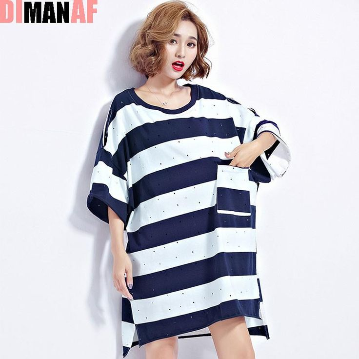 DIMANAF 2017 Women Summer T-Shirt Plus Size Batwing Striped Harajuku Cotton Female Casual Fashion Hole Letter Printing Tops