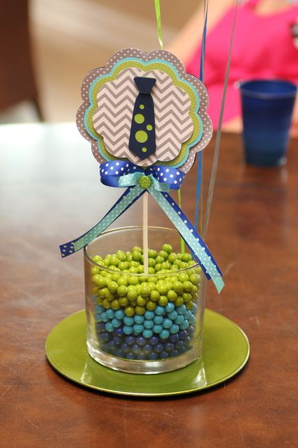 Photo 28 of 31: Lime Green & Aqua Blue Necktie Little Man Shower / Baby Shower/Sip & See A Baby Shower Fit for a Little Gentleman   Catch My Party