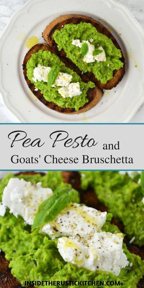 Make this Pea Pesto and Goats' Cheese Bruschetta for a fantastic lunch or snack. Sweet peas are blitz into a pesto with a few other yummy ingredients and spread on toasted wholemeal bread and topped with delicious, tangy goats' cheese http://www.insidetherustickitchen.com