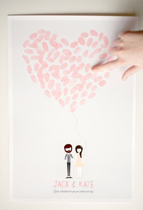 So unique and sweet! Wedding Poster. Custom Thumbprint Heart Poster.  Maddy & Seth Lucas. ellothere