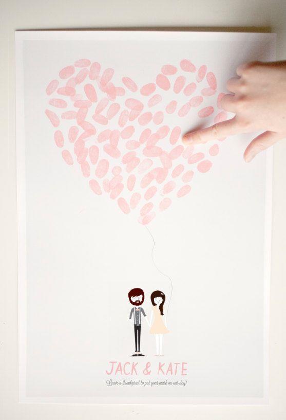 Une autre alternative au livre d'or Dessiner les contours du coeur au crayon à papier pour guider vos convives