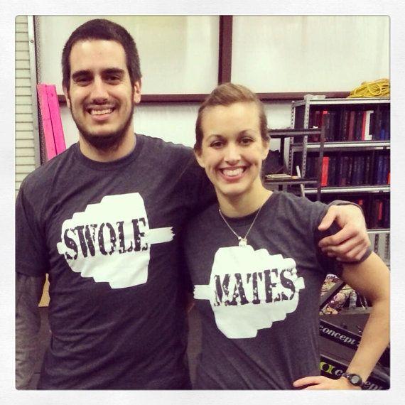 Swole Mates Custom Grey Tee pair by OneSpeedFitness on Etsy