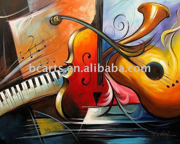 pintura al óleo musicial abstracta del instrumento-Pintura y ...