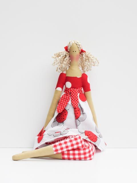 Fabric doll in bright red white dress cute cloth doll blonde art doll stuffed doll, rag doll  birthday gift for girls