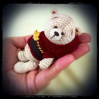 Liev - An OOAK Miniature Crochet Thread Artist Bear by Petite Pastimes