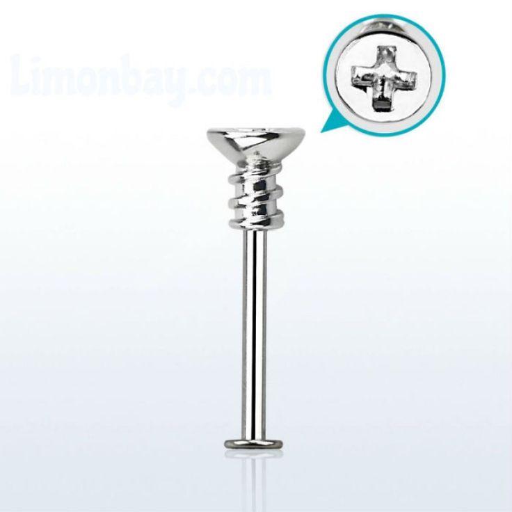 Labret acero quirúrgico 316L con parte superior de tornillo philips. Largo de barra: 6mm. Grosor: 1,2 mm. Ideal para tu piercing de labio, tragus, hélix o lóbulo