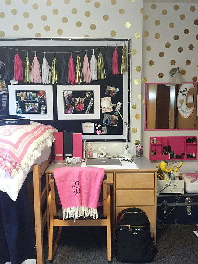 dorm room tour these are some of my colors i love the vinyl dots on the wall and tassels on the bulletin board - Door Room Ideas
