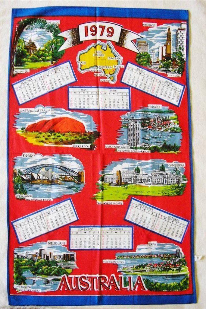 Australia Tea Towel Vintage Cloth 1979 Calendar Vintage Kitchen