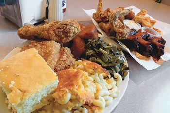 Greens, Corn Bread, Macaroni, Sweet Potatoes, Ribs, Fried Chicken Livers, Fried Okra and Fried Chicken!!!!!  Yes we're from the South!!!!!!!!!!!!!