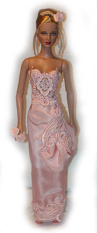 TONNER TYLER WENTWORTH OOAK GOWN DRESS PINK LACE BY COLLET-ART