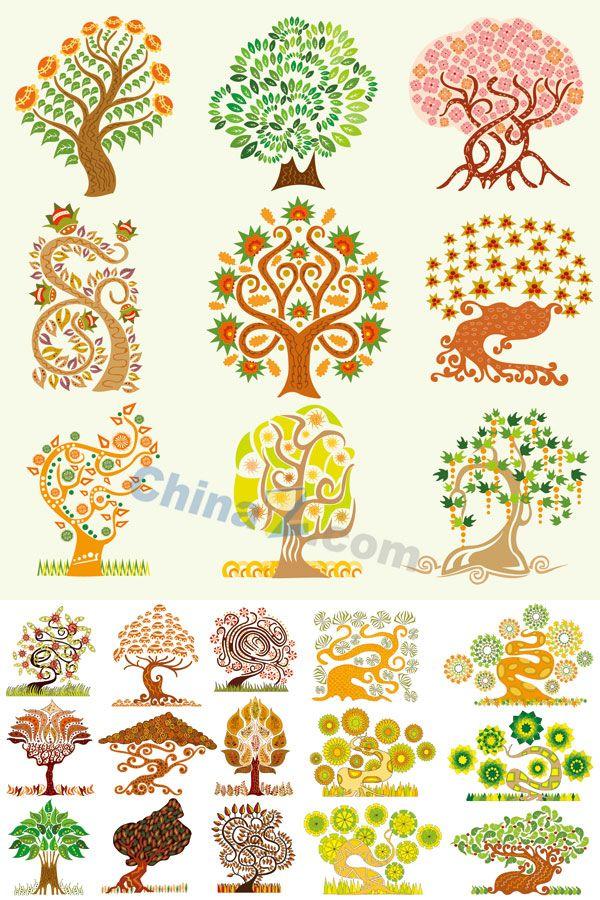 Creative cartoon tree collection vector material