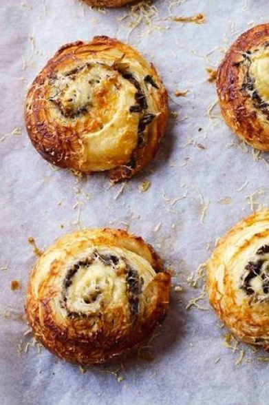 EMMENTHAL, ONION & MUSHROOM PASTRY ~~~ this recipe uses danish pastry as the base, but provides no instruction. if you need a source, my most favorite hook up since 2010 has been http://www.joepastry.com/2008/danish_pastry_dough/ [womanandhome] [joepastry]