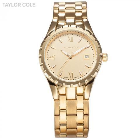 Taylor Cole Luxury Brand Roman Date Women Gold Watch Gift