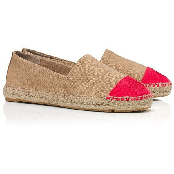 Tory Burch Color-Block Espadrille Flats ($135) ❤ liked on Polyvore  featuring shoes