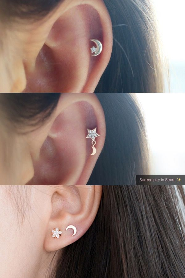 2a920f30be364 Best dainty star and crescent moon cartilage piercings in silver ...