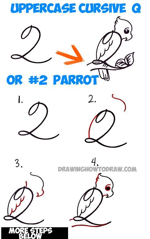 how to draw cartoon parrot from number 2 or capital cursive letter q easy step by
