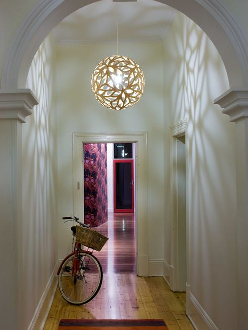 Simple entryway with modern pendant