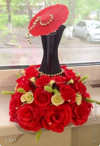 Свит-дизайн 8 марта Свадьба Бумагопластика Бутылочка на праздник Бумага гофрированная фото 1