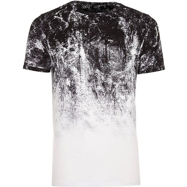 River Island White faded glitch print muscle fit T-shirt ($19) ❤ liked on Polyvore featuring men's fashion, men's clothing, men's shirts, men's t-shirts, mens patterned shirts, mens leopard print t shirt, faded glory men's shirts, j crew mens shirts and mens faded t shirts