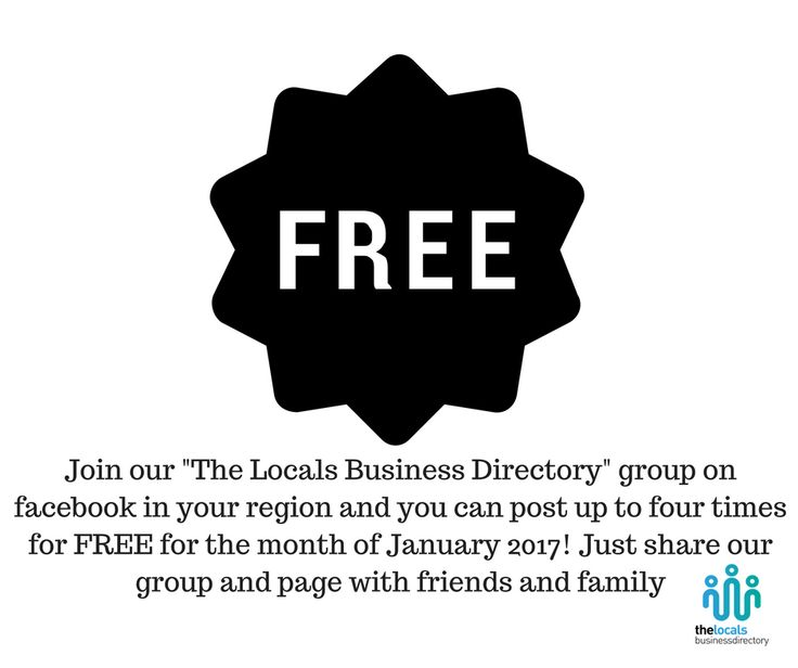 For the month of January (2017) you can post in our groups up to four times for FREE. We want to help small businesses to succeed...so use our audience to help you! We are opening up all our groups in each region.  Bay of Plenty https://www.facebook.com/login/?next=https%3A%2F%2Fwww.facebook.com%2Fgroups%2Fthelocalsbusinessdirectory%2F Hawkes Bay https://www.facebook.com/login/?next=https%3A%2F%2Fwww.facebook.com%2Fgroups%2Fthelocalsbusinessdirectory.hawkesbay%2F Waikato…