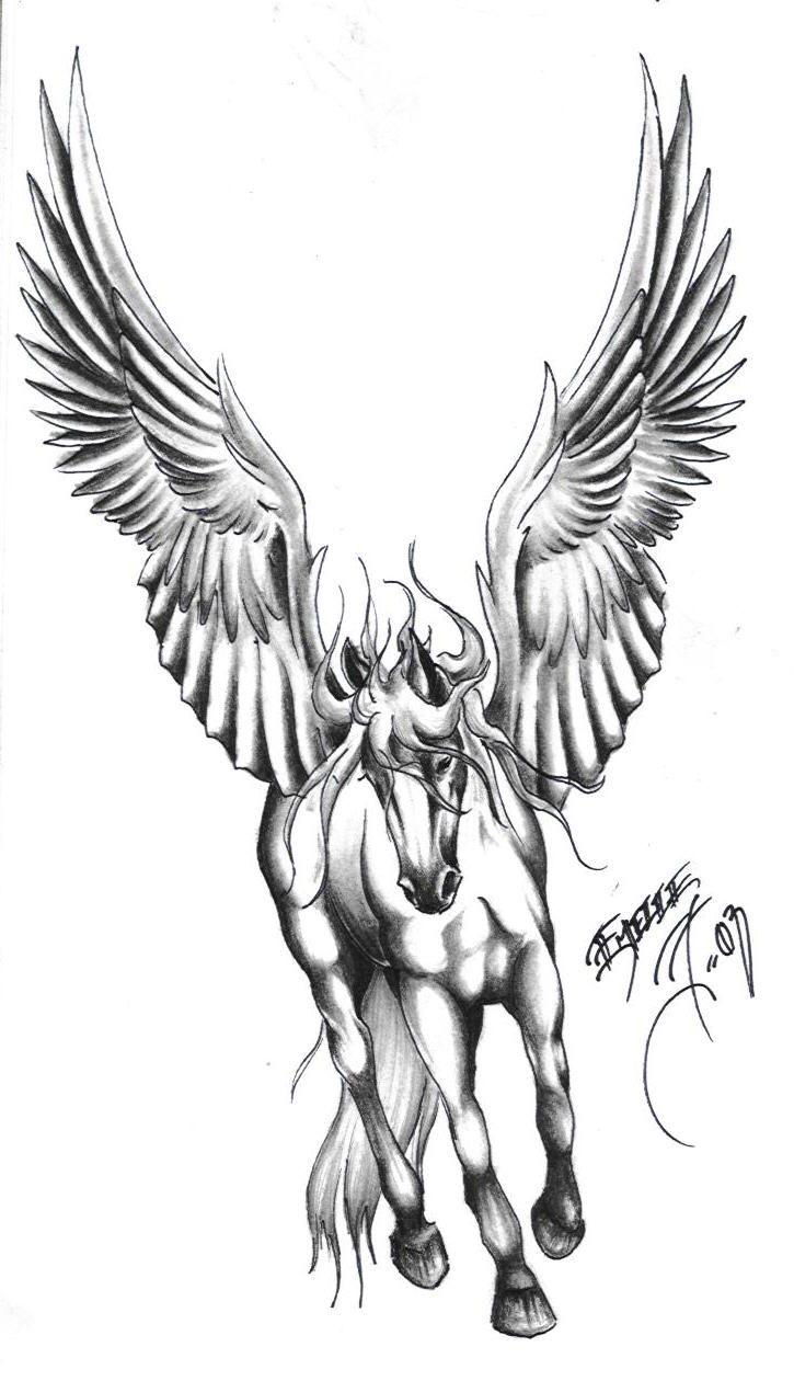 Awesome Grey Ink Pegasus Tattoo Sample