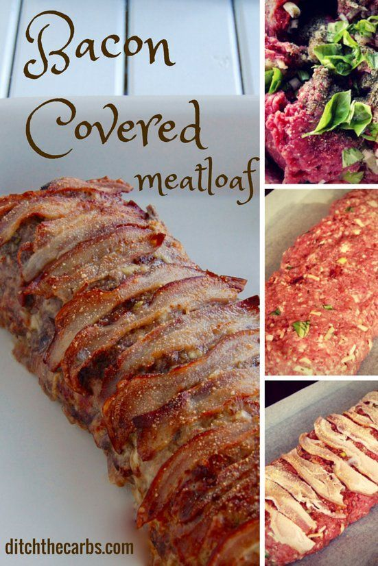 What a tasty and easy recipe for bacon covered meatloaf. It is low carb, wheat free, gluten free and you can hide all types of vegetables inside. It is paleo, Banting, LCHF, HFLC, grain free and gluten free. Great for dinner, lunch or school lunch boxes. Perfect for a picnic too.   ditchthecarbs.com