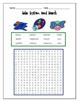 solar system word search - photo #23