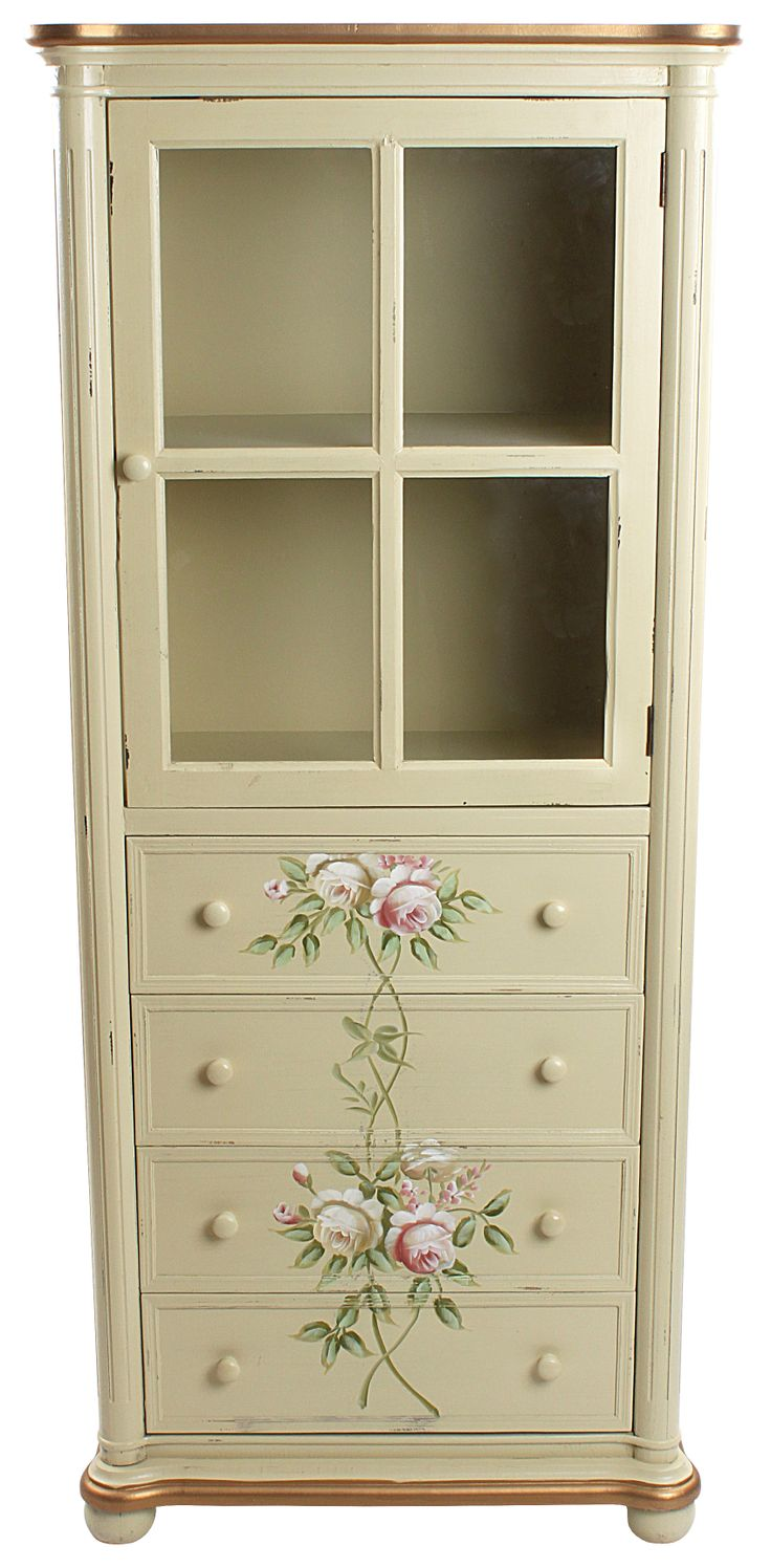 Wooden #vitrine with drawers and roses #floral #country www.inart.com