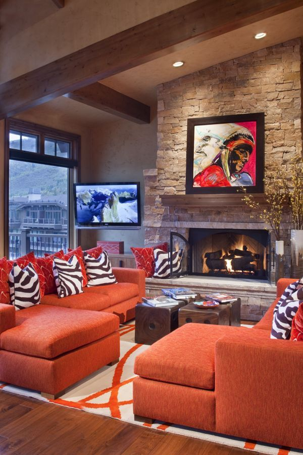 Bright colors add punch to this contemporary mountain getaway completed by Carol Moore Interior Design. #luxeCO