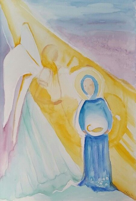 Immacolata  watercolor by Barbara Reale