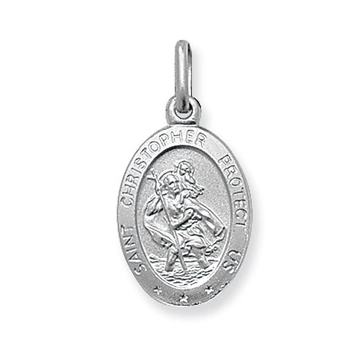 Childrens Sterling Silver Small Solid Oval St Christopher Pendant On A Curb Necklace
