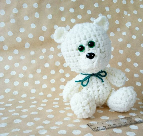 White Bear crocheted Soft toy bear  gift child by CuteGiftStudio
