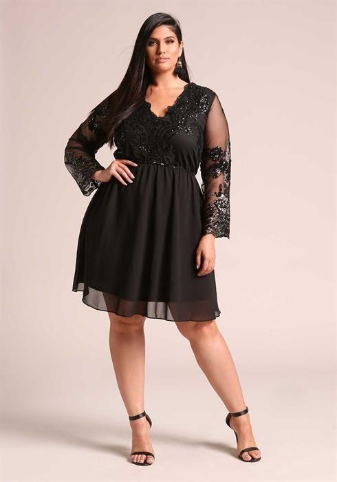 $59.95--3X--BLACK---Plus Size Sequin Chiffon Flared Dress