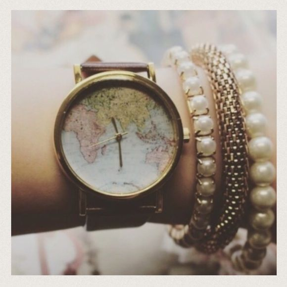 Vintage map watch Beautiful vintage style map watch , fashion accessory, working battery NWT retail Hwl boutique Accessories Watches