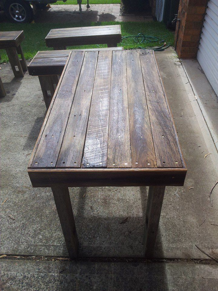 Rustic bench tables finished in linseed oil, The Little Kitchen, Coogee.