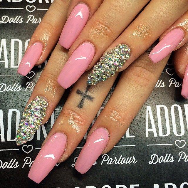 Hot Pink Coffin Acrylic Nails w/ Rhinestones