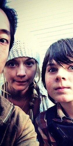 """The Walking Dead - Steven Yeun (""""Glenn"""") with castmates - Emily Kinney (""""Beth Greene""""), Chandler Riggs (""""Carl Grimes"""")- 40 days til more!"""